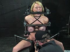 Krissy Lynn gets her vag toyed while being immobilized