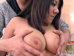 Marvelous Asian brunette babe is perfect for hard banging because she has some big natural melons and tight pussy that her lovers adore to fuck