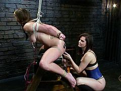 Curvaceous girl with pigtails gets her nipples pinched with claws. Later on she also gets her boobs and ass wired by Bobbi Starr.