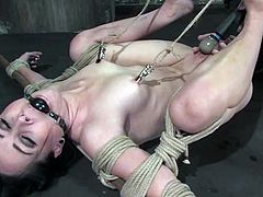 This busty and kinky brunette siren Alexa Von Tess gets tied up on the yoke bar and suspended on the ceiling. Moreover, there is a ball gag in her mouth.