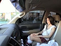 Leggy oriental cutie wering sexy short skirt and funny stockings masturbates her pussy in the front seat of the car. She is so voluptuous ad seductive. Enjoy her for free.