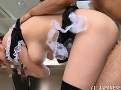 Yuna Nanjyou the sexy housemaid gives a rimjob and gets fucked