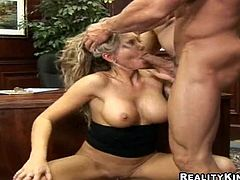 Check out this super hot-ass hardcore sex right here with this amazing blonde whore as she sucks dick and gets fucked! It's awesome!