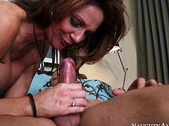Luscious mom with giant tits is wearing tight corset and black nylon stockings fucking in hardcore Naughty America porn clip. So she gets on top of juicy cock bouncing her ass actively. Arousing porn clip you must watch dude.