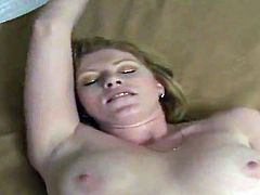 Adorable blonde Katrena is trying hard to satisfy her man. She sucks and rubs his dick devotedly and then fucks the guy in cowgirl position.