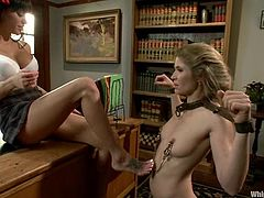 Slim Gia Dimarco licks Abby Darling's vagina and gets toyed. Later on Abby gets tied up and toyed rough by her sexy student.