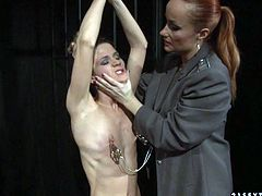 This incredibly spoiled blondie knows that she is in for a rough kinky time. The girl is having a hard time with the clover clamps on her tits. Check out this wild BDSM sex video and I am kinda sure you'll enjoy watching it.