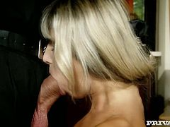 At first he finger fucks her juicy ass hole and later makes her suck his dick. Obedient blondie kneels down and starts to suck his cock with her eyes closed.