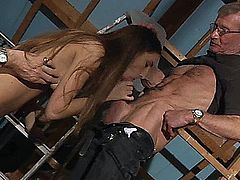 Tina Blade likes variety. Today she wants to try something special so these two grotty old farts fits perfect her dirty fantasy.  The double blowjob and the deep ass fuck satisfy her for the moment.
