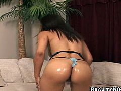 Shyla shows off her big natural tits and her round ass in this hardcore video where this light skinned ebony babe's fucked by a big cock.