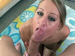 Sweet Lizzy London goes deep in oral and enjoys massive load splashing her face