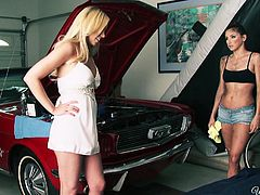 Blonde babe Brea pays a visit to Celeste to check out how's her car. Celeste, although she a hot brunette chick she works as a mechanic. After dealing with Brea's car she deals with her. The blonde pays her in a her own special way and sucks the brunette's tits before getting naked and ready to fuck.