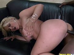 Hot-ass interracial sex scene with blonde slut and a fuckin' horny black guy, hit play and check it out, it's pretty fuckin' cool!