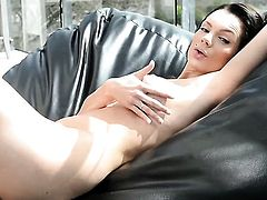 Kyla Fox with massive melons and bald snatch gets down all by herself