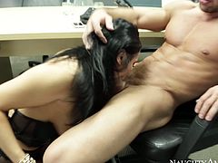 Charming and sexy Audrey Bitoni sucks a cock of her friend