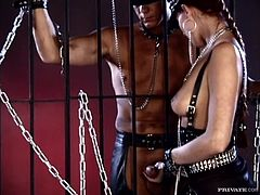 Hot brunette girl in mistress uniform gives a blowjob to her sex slave. After that she gives him a footjob and gets fucked properly.