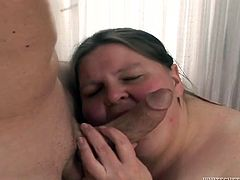 Kinky dude fucks disgusting fat chick and enjoys her fat rolls. He penetrates her fat slit in missionary style position and makes her moan with a great delight.