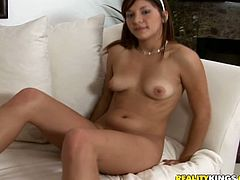 Lovely babe shakes her booty and shows the boobs at an audition. After that she gives a blowjob and gets fucked on a sofa.