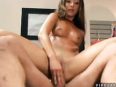 Brunette eat guys snake with passion and desire