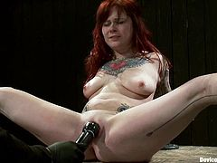 Smoking hot and slender siren Misti Dawn gets naked and her master ties her up with some thick and cold chains. Nice tattoos, girl!