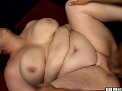Mature BBW with huge tits and fat belly getting her wet pussy fucked doggystyle then she gets cum on belly for pleasure in the guys apartment.