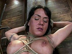 Kinky brunette milf Mahina Zaltana is having fun with some dude in a basement. She gets bound to the wall and enjoys it when the stud rubs her juicy cunt with a dildo.