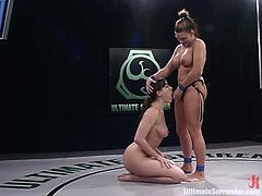 Toni is a big girl with big boobs that is why she gets a victory against petite and slim Dana Dearmond. Dana gets her pierced pussy stuffed deep with a strap-on in close-up scenes.