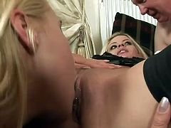 Gorgeous Amanda and Zafira May are two amazing blonde chicks in sexy lingerie. They lick each others pussies and ride some old dick.