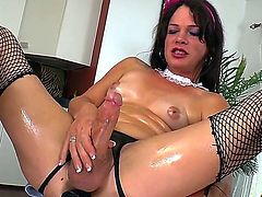 Naughty TS Gina Hart is going to spend time alone! Take a glance at how the bitch with cock instead of cunt between legs is going to stroke dick pushing dildo into ass.