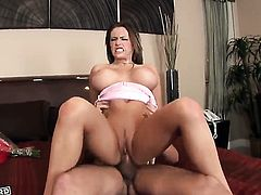 Jenna Presley gives man's rock solid cock a try