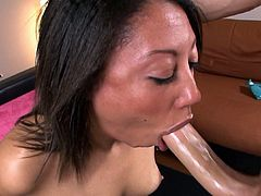 Wild brunette latina goes deep and nasty during intense blowjob porn session