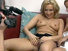 Ionie Luvcoxx and Jessica Love take their clothes off. They lick and toy each others pussies. Later on they get fucked hard by four horny guys.
