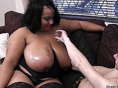 Shanice is one of those big, beautiful women which is always in the mood for some hot fuck sessions which I absolutely love. Her huge breasts make me want to oil them up and start sucking her nipples, followed by a hot tit massage which only gets me more horny.