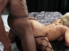 Horny blonde mature cougar receives black snake to drill her needy cunt