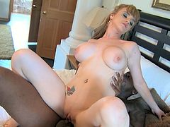 Big titted MILF is tit fucked at first. Then she gets rammed bad in her twat in a missionary sex position. After, Caucasian mommy sucks juicy BBC deepthroat.