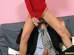 Voodoo touches the hottest parts of adorable Lacey Leveahs body before he fucks her mouth