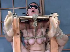 A submissive girl is going to be tied up, toyed and dominated in this extreme bondage video where she's placed in many different situations.