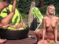 Two sizzling blonde chicks take sunbathes by the pool. Then they get their wet pussies licked and fingered by two dudes. After that they sucks dicks and get rammed on lounge chairs.