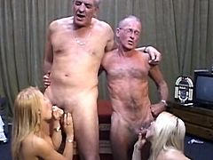 Needy young blondes are having a naughty fuck along two old and horny males