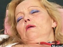 This mature practical nurse niche vid is all about the sexy blonde mamma Simira, who dressed up as a head nurse practitioner to do a self gyno and a solo in the inquiry chair