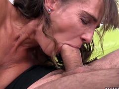 Although she is a lady at certain age she still loves to fuck! At first, she makes her lover eat her snatch. Then she pleases him with a blowjob. Since that prick is already hard she climbs on top of him and rides him passonately in cowgirl position.