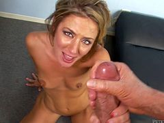 Sizzling MILF with killer body bounces her ass actively on a hard dong. Later on she is nailed deep from behind. At the end of the session she gets her face covered with fat facial cumshot.