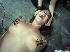 Four hot chicks are having a good time in a basement. Two submissive chicks let two mistresses bind and torment them and seem to enjoy it much.