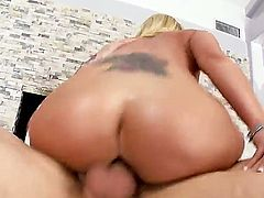 Arousing cock loving blonde milf Austin Taylor with big jaw dropping round ass and whorish heavy make up seduces tattoos stud and rides on his cock like there is no tomorrow.