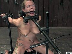 This girl sits on a fucking machine being bounded. So, she gets her pussy drilled for a long time. She also gets her tits tortured with metal claws.