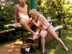 Luscious blonde aunty was craving for hard flesh in her mouth. She seduced handsome dude for sex. So slutty mom reveals dick out of dude's jeans outdoor. She wraps the cock with her mouth lips and starts sucking like crazy.