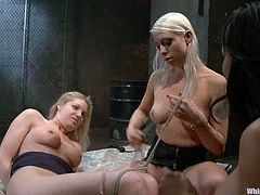 Two deliciously hot and sexy chicks Hollie Stevens and Lorelei Lee are in some wild action! They share this sexy piece of meat and make her sore.