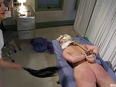 She didn't come for such a medical care, but on the other hand Krissy Leigh enjoys how Matiresse Madeline treats her! It's hot to watch BDSM with lesbians.