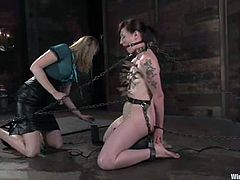 A tattooed MILF is getting dominated by a blonde chick in this lesbian BDSM session with sybian and chains.