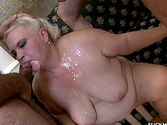 Big boobed chubby slut gets hard cock just for her and she can not wait to be used by those two horny fuckers in this hardcore threesome.